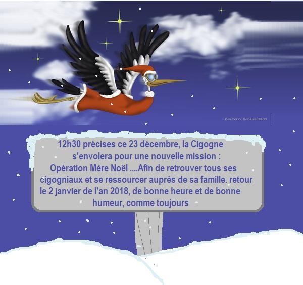 Cigogne de Noël